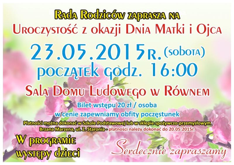 ZSP ROWNE Rada Rodzicow Dzien Matki i Ojca 2015 plakat A3 4+0