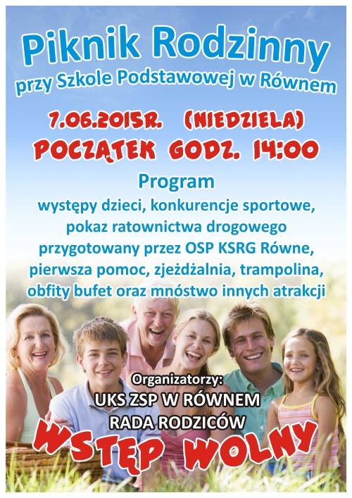 ZSP ROWNE Rada Rodzicow Piknik Rodzinny Rowne 2015 plakat A3 4+0